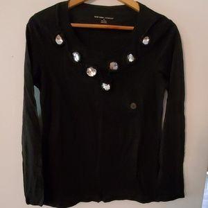 New York & Co Long Sleeve Black Sheer Blouse - M